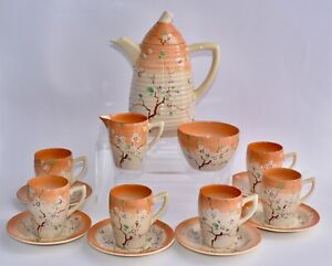 RARE - Newport Pottery Clarice Cliff MAY BLOSSOM Coffee Set for 6 - Complete!