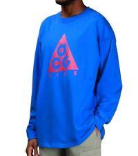NIKE Men ACG Big Logo Long Sleeve Shirt Blue Pink BQ3457 416 - Large New