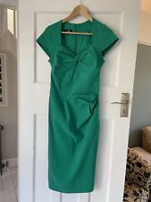 20TH CENTURY FOX Green Vintage Inspired Bardot Style Fitted  Occasion Dress Uk14