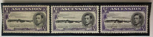 1938-49 Ascension Georgetown Stamps | Sc #40 40a SG #38a 39A | MNH Used