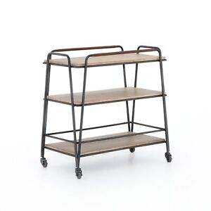 "32"" L 3 Tier Bar Cart Wood Gunmetal Iron Frame 100% Buffalo Leather Handles"