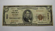 $5 1929 Antigo Wisconsin Wi National Currency Bank Note Bill! Ch. #5942 Fine!