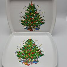 Christmas Tree Tray Plastic Ullman USA Set 2 10 inch