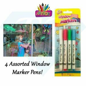 ARTBOX WINDOW MARKERS ASSORTED COLOURS PACK OF 4 NON TOXIC THANK THE NHS