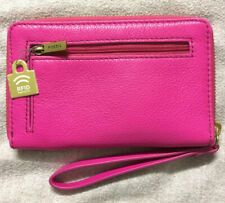NWT Fossil Jori Hot Pink Pebble Leather Wristlet Ziparound Clutch SWL1821694RFID