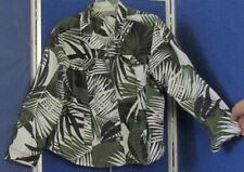 Pretty ADDITIONS by CHICO;S Fern Print JACKET Jean Style Sz 3 Army Green BLK Wht