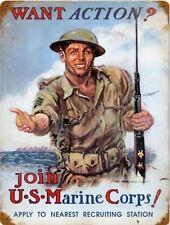 United States MARINE Corps Recruiting Vintage Retro Military Metal Sign 9x12 USA