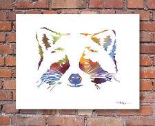Abstract Raccoon Watercolor Painting Wildlife Art Print by Artist DJ Rogers