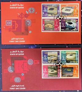 NEW FIFA WORLD CUP 'Qatar2022' STADIUMS 2 FIRST DAY COVERS ISSUE 12/07/2021 MNH