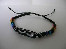 NEW Long Batik Black Bone Rainbow Beads Slip-Knotted BLACK Bracelets Ethnic