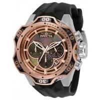 Invicta Men's Watch Venom Quartz Chronograph MOP Dial Black Rubber Strap 33639