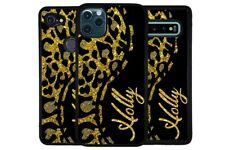 Curvy Leopard Skin Gold Personalized Phone Case for Apple Samsung LG Google