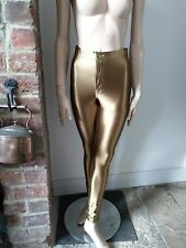 GLAMOROUS high waisted gold shiny shimmer stretch super skinny pants trousers S
