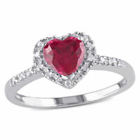 Amour Sterling Silver Diamond and Created Ruby Heart Halo Ring