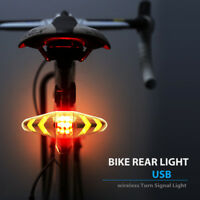 Bicycle USB LED Indicator Bike Rear Tail Laser Turn Signal Light Wireless Remote