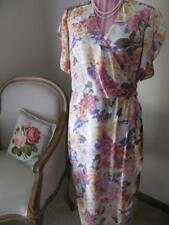 Vintage 1980s DRESS 14 Geoff Riddell floral textured SILK wrap pastel tea retro