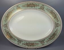 WEDGWOOD GOLD COLUMBIA SAGE GREEN OVAL SERVING PLATE / PLATTER 35.5CM X 27CM