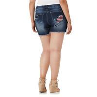 Simply Emma Woman AMERICANA Stretch Cut off denim shorts 16W NEW