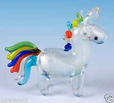 "Miniature Hand Blown Glass Rainbow Unicorn Figurine 2.25"" High New!"