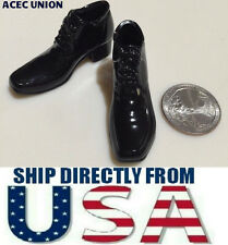 "1/6 Men Moc Toe High Heeled Oxford Shoes For 12"" Hot Toys Male Figure U.S.A."