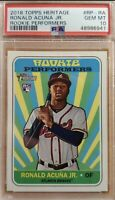 RONALD ACUNA JR BRAVES 2018 TOPPS HERITAGE PERFORMERS ROOKIE PSA 10 GEM MINT RC