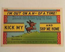 VINTAGE KICK MY A$# AND SHIP ME HOME POSTCARD