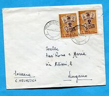 1964 GIORN.FRANCOBOLLO '64 £.15 x 2 per la SVIZZERA - STAMPE 2 PORTI  (400353)
