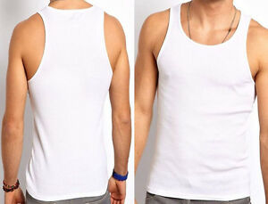 New Men's 100% COTTON Fitted Vests Pure Cotton Gym Top Summer Training S M L XL