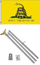 3x5 Gadsden Yellow Snake Flag w/ 6' Ft Aluminum Flagpole Flag Pole kit Eagle