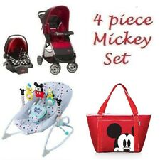 4 Pc. Mickey Mouse Newborn Set Stroller Pram Car Seat, Diaper Bag & Bouncer