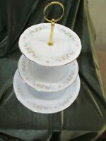 LOVELY VINTAGE MAYFAIR CHINA PLATED 3 TIER CAKE STAND PASTEL 'PINK  GARLAND '