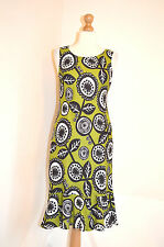 DESIGNER HOBBS LONDON GREEN,BLACK,WHITE FLORAL LINEN SUMMER HOLIDAY DRESS 10 VGC