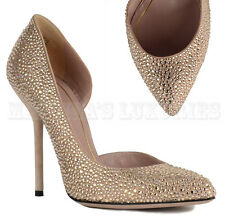 $1,550 GUCCI SHOES NOAH NUDE CRYSTAL D'ORSAY HIGH HEEL SHOES sz IT 37 US 7