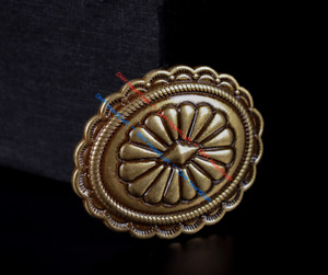 6X Heavy-Duty Antique Brass Tribal Southeast Flower Belt Leather Craft Conchos