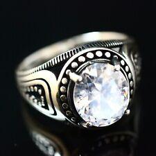 925 Sterling Silver Handmade Gemstone Turkish Zircon Men's Ring Size 12