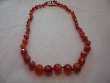 """Red Agate Beaded Necklace w/Lobster Claw Clasp-20""""-151.00 Carats"""