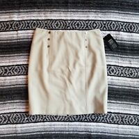 New $89 Etcetera Sz 4 Above Knee Fully Lined Straight Pencil Skirt Beige Tan