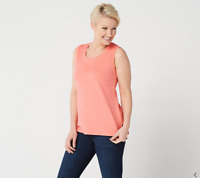 Isaac Mizrahi Live! Essentials Scoop-Neck Tank with Hi-Low Hem Tropical Coral L