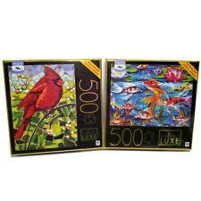 Big Ben Luxe Jigsaw Puzzles Cardinal Glass Mosiac & Koi Fish  500 Pc - LOT OF 2