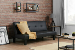 Contemporary Franklin Sofa Bed In Black Faux Leather Clearance 99p Brand New