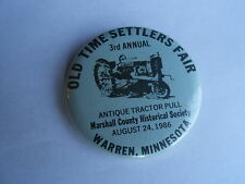 Vintage 1986 Warren MN Old Time Settlers Fair Antique Tractor Pull IH Pinback