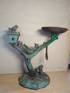 "Vintage Cast Iron ''Boy on the Tree with Bird & Squirrel"" Statue Candle Holder"