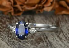 14K White Gold Lab Sapphire Engagement Ring White Gold Diamond Ring Oval Cut
