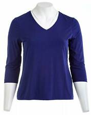 CHICO'S Solid V Neck Top in Ink Purple