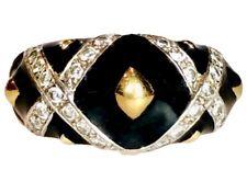 Hidalgo 18K Yellow Gold Diamond XX Kiss Black Enamel Domed Wide Vintage Ring 7