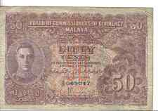 MALAYA, 50 CENTS, KGVI, 1941