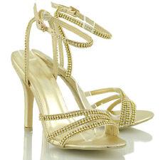 Womens Ankle Strap Stiletto Heel Ladies Diamante Party Peeptoe Sandals Shoes Gold Mettalic UK 8 / EU 41 / US 10