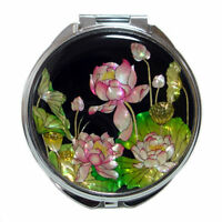 Mother of Pearl Pink Lotus Flower Design Compact Cosmetic Makeup Hand Mirror