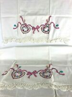 2 Vintage Hand Embroidered & Crocheted Pillow Cases Standard Size Heart Design