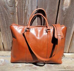 LARGE HOBO INTERNATIONAL SMOOTH COGNAC LEATHER ZIP AROUND BUSINESS SHOULDER BAG